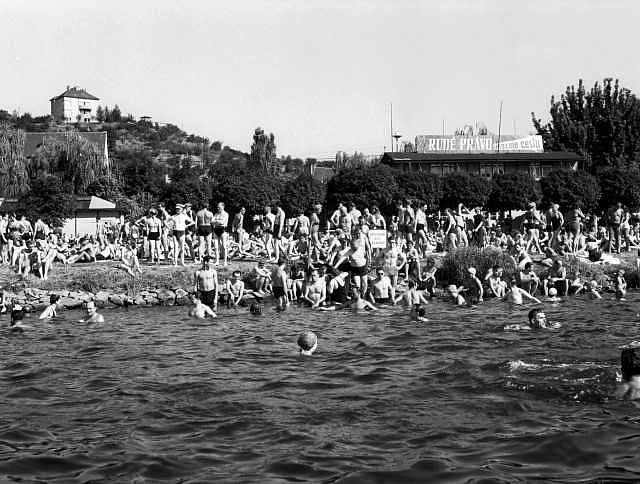 PRAŽANÉ NA REKREACI. Poslední vedra vylákala 7. 8. 1949 statisíce Pražanů k Vltavě.