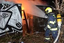 Požár bývalé tržnice v sousedství stadionu Bohemians v pražských Vršovicích.