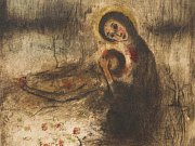 Grafika Bohuslava Reynka Pieta srůžem se dražila v Praze.