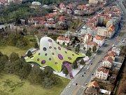 Návrh Jana Kaplického na novou budovu Národní knihovny v Praze na Letné.