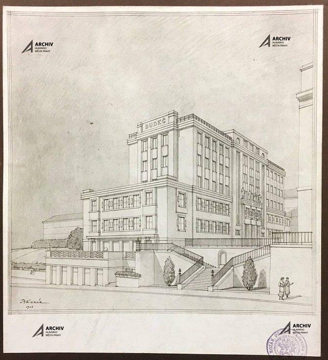 Architektonický návrh Bohumíra Kozáka studentské koleje Budeč z roku 1924.