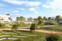 Nová městská čtvrť v Letňanech - vizualizace - Na pozemcích stávajícího sportovního letiště v pražských Letňanech vznikne nová městská čtvrť (na vizualizaci).