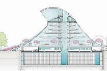 Průřez návrhem nové Národní knihovny od architekta Jana Kaplického.