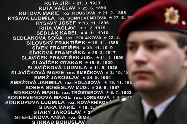 Odhalení pomníku s 294 jmény příslušníků nekomunistického odboje, kteří pomáhali parašutistům J. Kubišovi a J. Gabčíkovi v přípravě atentátu na Heydricha v roce 1942 proběhlo 26. ledna na nádvoří Národního památníku hrdinů heydrichiády.