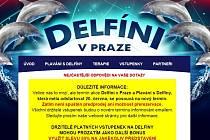 Náhled části úvodní internetové stránky Delfíni v Praze.