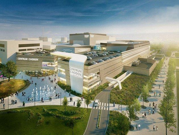 Vizualizace zmodernizovaného obchodního centra Chodov.