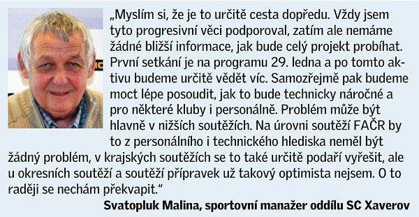 Vyjádření Svatopluka Maliny, sportovního manažera oddílu SC Xaverov.