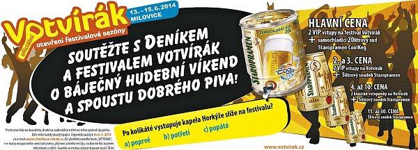 Soutěžte sDeníkem a sfestivalem Votvírák obáječný hudební víkend a spoustu dobrého piva!