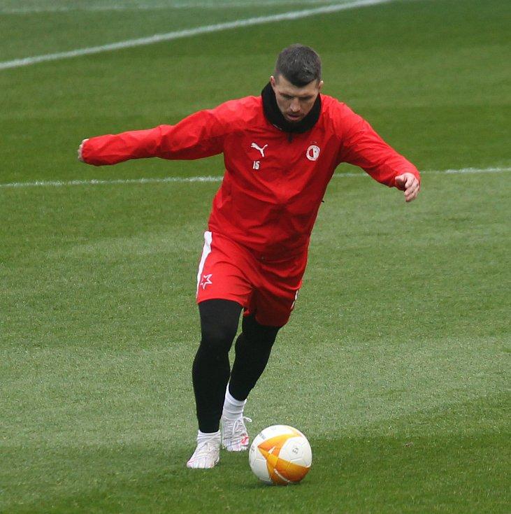 Trénink Slávie před zápasem s Arsenalem