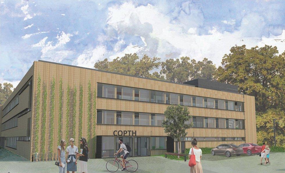Rekonstrukce střední školy COPTH (Centrum odborné přípravy technickohospodářské) v Českobrodské ulici. Vizualizace vstupu.