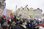 Na pražském Staroměstském náměstí se sešli 10. ledna 2021 odpoledne účastníci demonstrace nazvané Otevřeme Česko proti vládním opatřením, která souvisejí s koronavirovou pandemií.