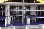 """Ztvárnění modelu """"chobotnice"""" - projektu Národní knihovny od architekta Jana Kaplického - pomocí LEGO kostek."""