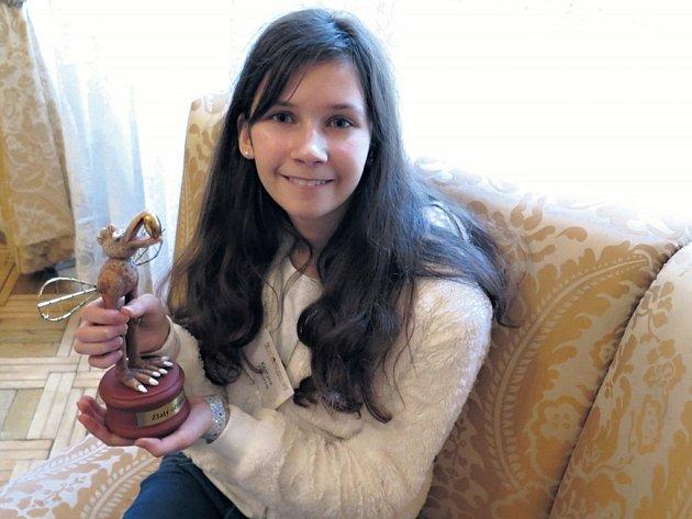 Kristýna Pokorná, pražská vítězka Zlatého oříšku pro nejtalentovanější děti v České republice.
