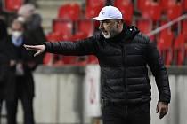 Úvodní zápas osmifinále fotbalové Evropské ligy: Slavia Praha - Glasgow Rangers, 11. března 2021 v Praze. Trenér Slavie Jindřich Trpišovský.