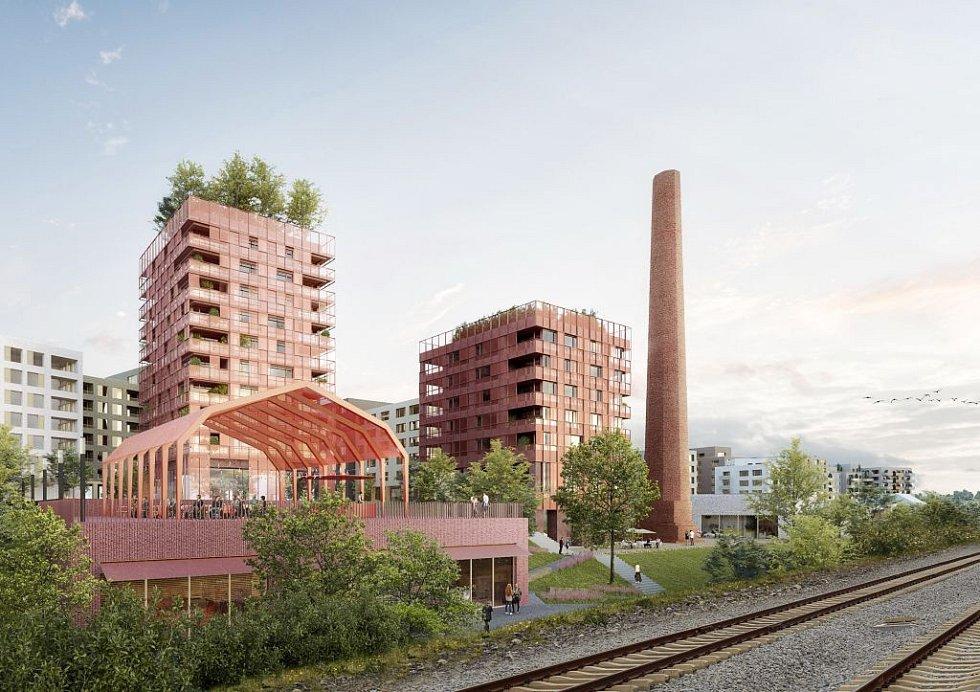 Vizualizace bytového komplexu v areálu bývalého cukrovaru v Modřanech.
