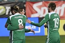 Utkání 8. kola první fotbalové ligy Bohemians Praha 1905 - FK Teplice. Hráči Bohemians se radují z gólu.