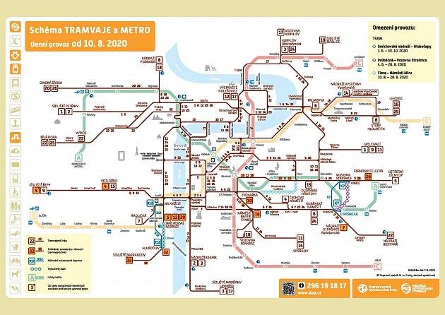 Celkové schema dopravy při výluce mezi náměstím Míru a Florou.