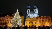 Vánoční strom na Staroměstském náměstí se neplánovaně definitivně rozsvítil v pátek 27. listopadu 2020.