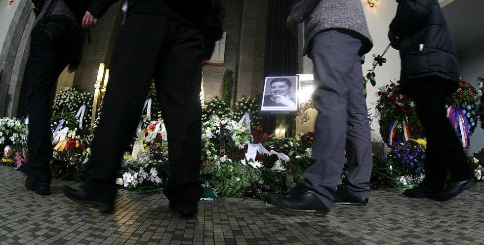 Poslední rozloučení s Lukášem Přibylem ve Strašnickém krematoriu v pátek 17. února.