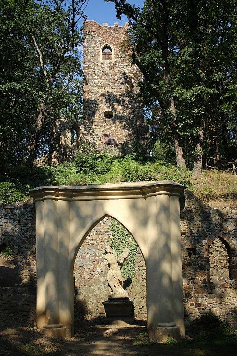 Socha Jitry, nebo také Škrtiče se nachází ve vchodu do umělé jeskyně.