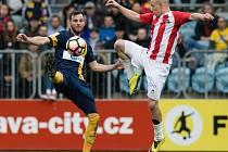 Zápas 22. kola Fortuna národní ligy 2016/2017 mezi SFC Opava a FC Viktoria Žižkov 14. dubna 2017 v Opavě. Václav Jurečka (o).