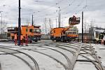 Nové velkokapacitní odstavné kolejiště tramvají v Hostivaři.