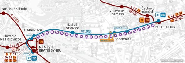 Schéma provozu při výluce Otakarova - náměstí Bratří Synků-