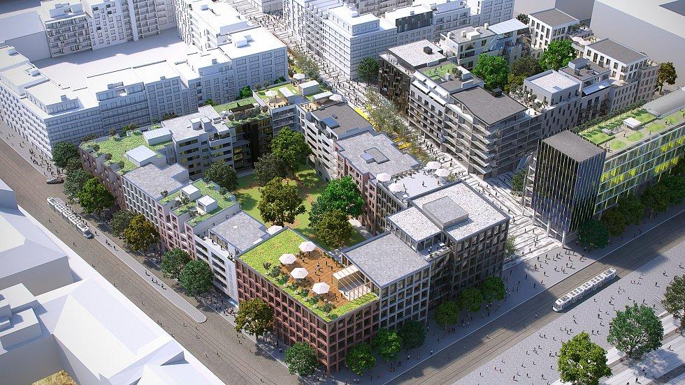 Vizualizace dvou bloků, plánovaných v první fázi. Budova před blokem vpravo zatím není vúvodní fázi zahrnuta, protože pozemek, na kterém má stát, patří firmě ČSAD Praha. O odkupu pozemku Sekyra Group jedná.