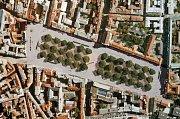 Jeden z architektonických návrhů nové podoby Karlova náměstí v rámci veřejné ideové urbanisticko architektonické soutěže vyhlášené v červnu 2008 Městskou částí Praha 2.