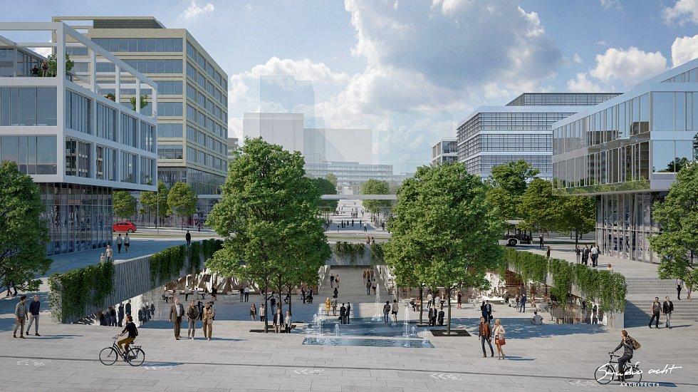 Praha představila nové návrhy stanic metra připravované linky D. Pohled od nemocnice.