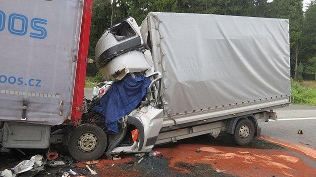 Středeční tragická nehoda na dálnici D1. Foto: Policie ČR