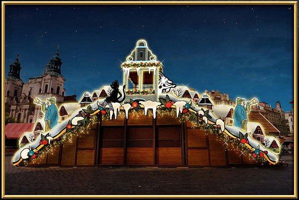 Vizualizace: motivy slavného českého malíře Josefa Lady se na největších pražských vánočních trzích na Staroměstském náměstí objeví vůbec poprvé.