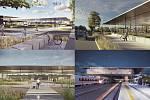 Návrh od Arch. Mahera Matara, který obsadil třetí místo. Vizualizace exteriéru a nástupiště terminálu.
