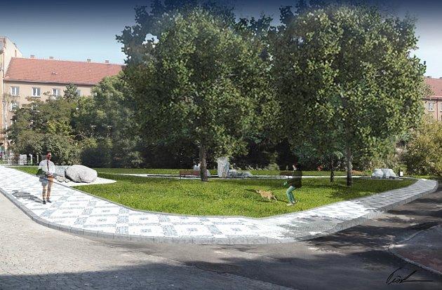 Vizualizace revitalizace parčíku u ulic Stejskalova a U Rokytky.