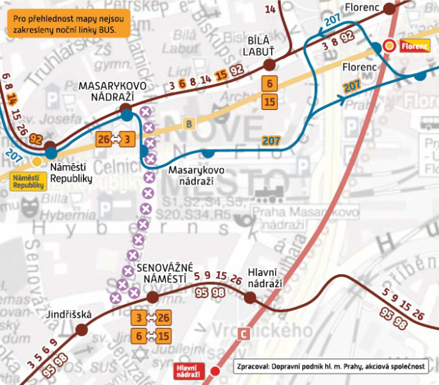 Schema výluky uMasarykova nádraží.