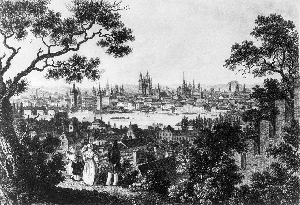 Rytina. Pohled na Hradčany ze začátku 19. století.