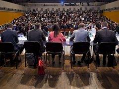 Účastníci setkání starostů středočeských obcí, které uspořádal Středočeský kraj 21. února v Kongresovém centru v Praze.