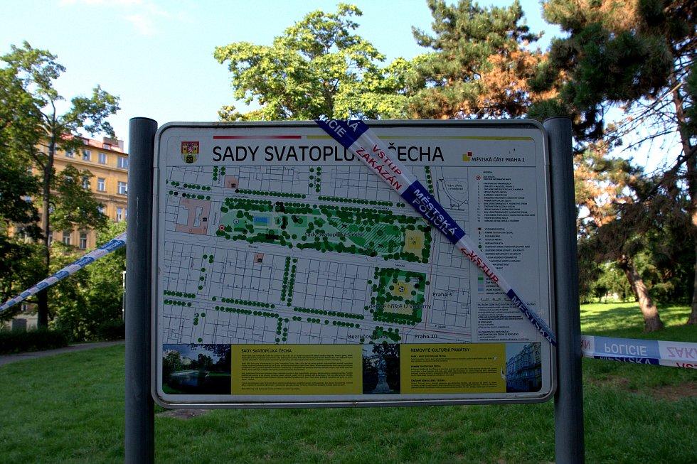 Druhý den byly kvůli nebezpečí pádu stromů uzavřeny Sady Svatopluka Čecha a také část Vinohradské ulice.