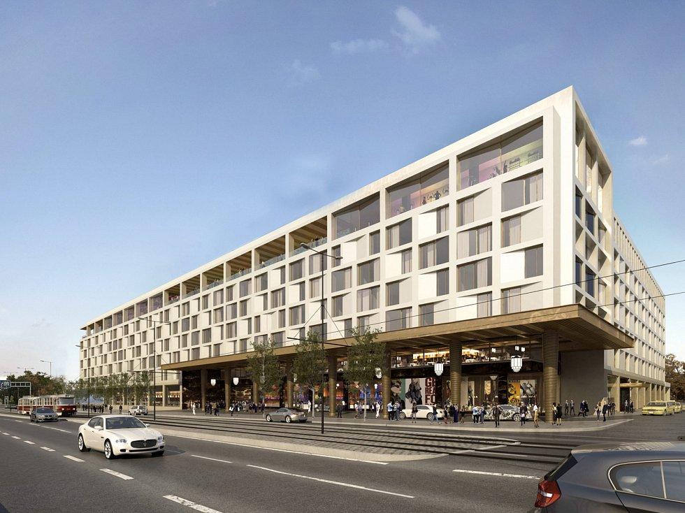 Vizualizace podoby přestavby stadionu Sparty, vedle by mohl vyrůst nový hotel.