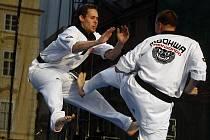 Setkání mistrů bojových umění. Na Staroměstské náměstí se sešlo přes 100 sportovců z řad mistrů světa a Evropy na jedné scéně.