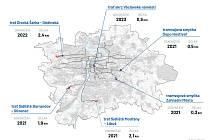 Praha chce během čtyř let postavit čtyři nové tramvajové tratě. Do roku 2030 má ambici postavit skoro 40 kilometrů nových kolejí.