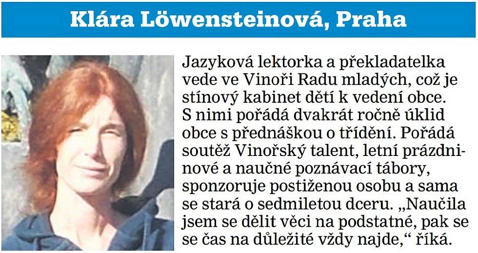 Klára Löwensteinová, dobrovolnice, Praha