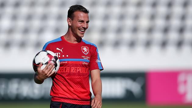 Trénink fotbalové reprezentace před zápasem s Německem 28. srpna v Praze. Vladimír Darida.