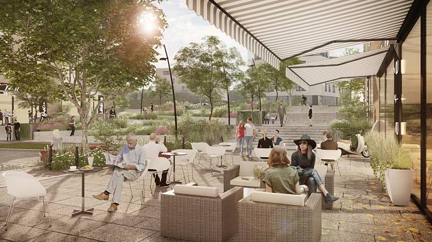 Vizualizace nového bytového areálu v Modřanech.