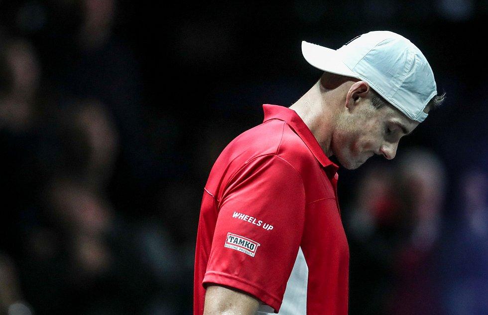 Laver cup, hraný 22. září v Praze. Zápas Dominic Thiem,Team Europe proti John Isner, Team World