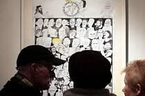 Zahájení výstavy k 25.letům založení České unie karikaturistů s názvem Čtvrt kila ČUK. Novoměstská radnice 1.dubna.