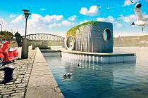 Na jeden den se ze Střeleckého ostrova stane ostrov obývaný Prvokem. Prvním plovoucím 3D tištěným domem vČesku. Zdroj: Scoolpt