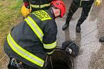 Pražští hasiči a potápěči pátrají po dělníkovi, který spadl do kanálu v Patočkově ulici.