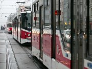 Stojící tramvaje. Ilustrační foto.