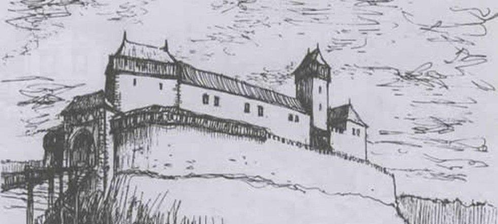 Nový hrad. Podobu hradu podle navržených půdorysů vytvořil Dr. J. Bartoň..